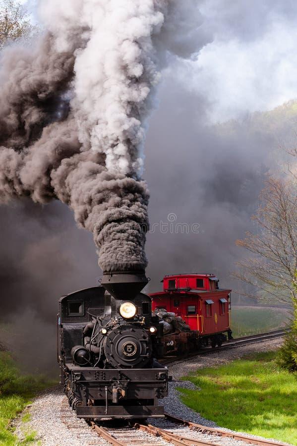 Locomotives à vapeur de Shay - Montagne d'escalade - Chemin de fer Cass - Virginie-Occidentale photo libre de droits