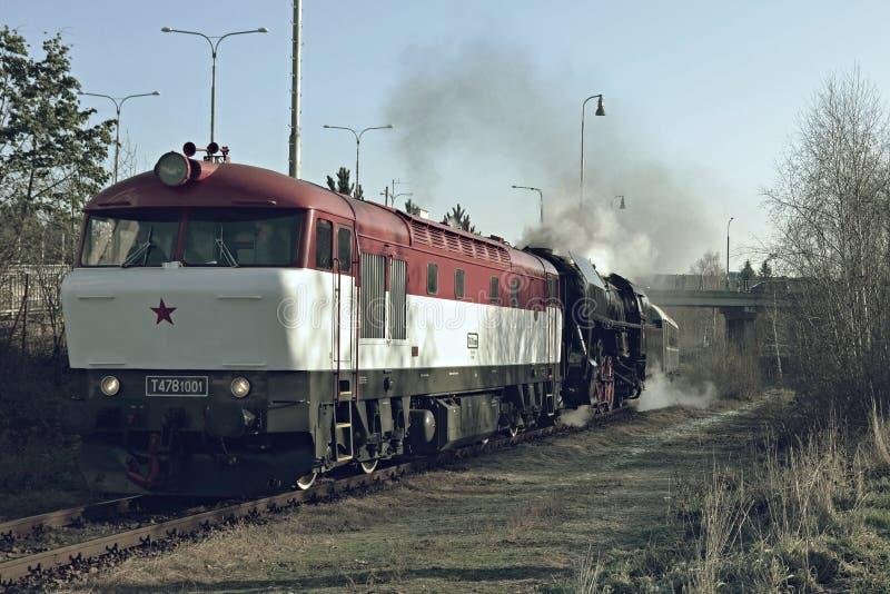 Locomotives historiques Bardotka et noble photographie stock