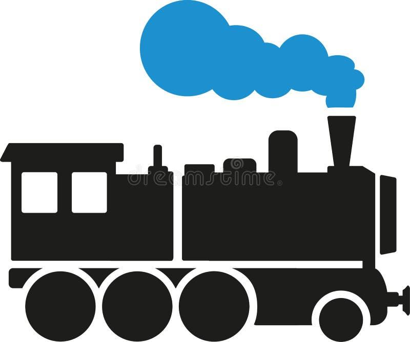 Locomotora con vapor azul stock de ilustración