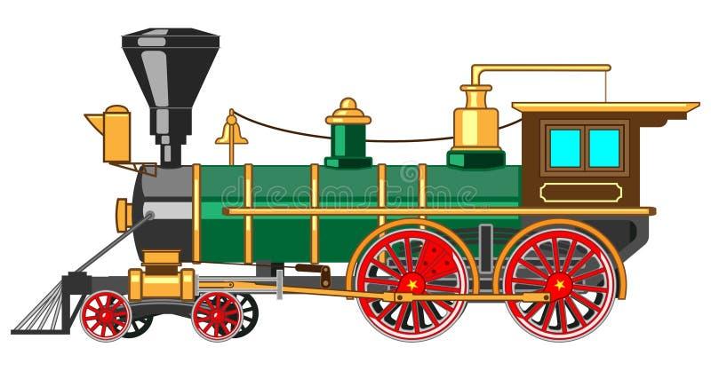 Locomotora de vapor brillante de la historieta stock de ilustración