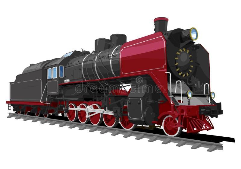 Locomotora de vapor vieja stock de ilustración
