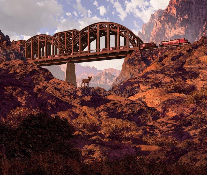 Locomotora diesel y ovejas de Bighorn del desierto ilustración del vector