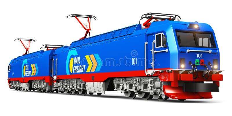 Locomotora eléctrica de la carga pesada moderna stock de ilustración