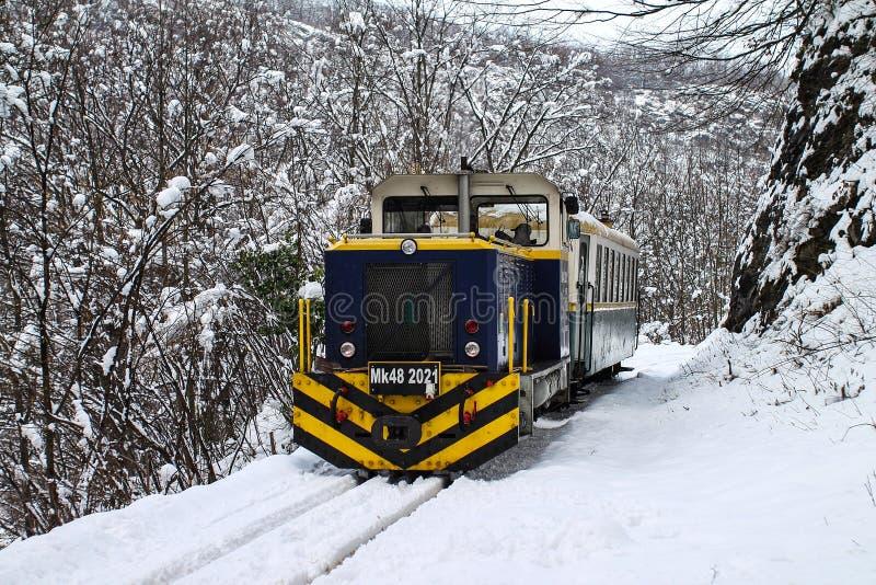 Locomotora híbrida en nieve Tren de pasajeros, carril de la montaña Hunga fotos de archivo libres de regalías