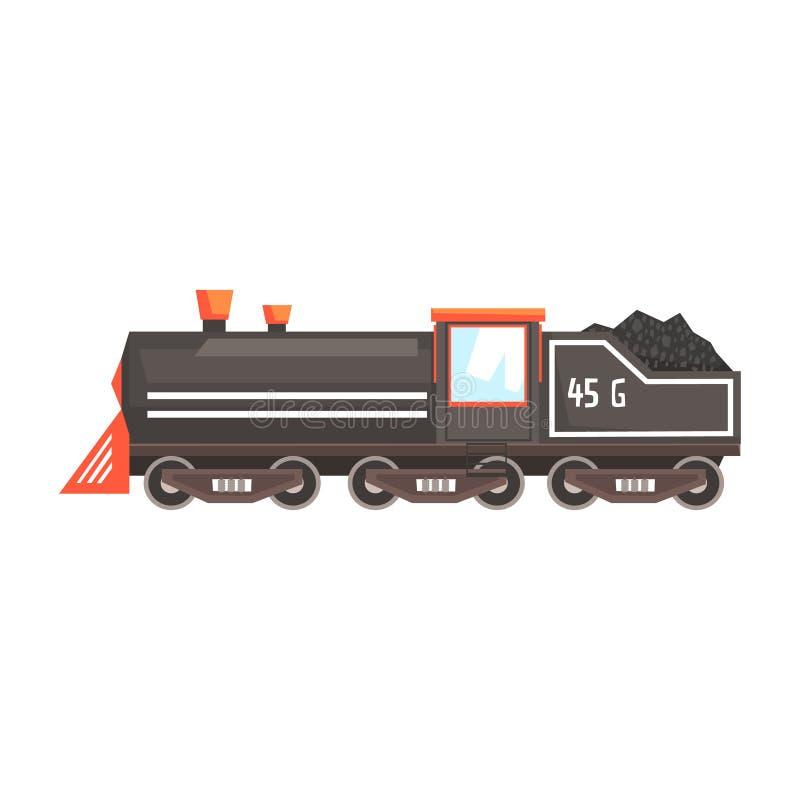 Locomotora negra del tren Ejemplo colorido de la historieta ilustración del vector