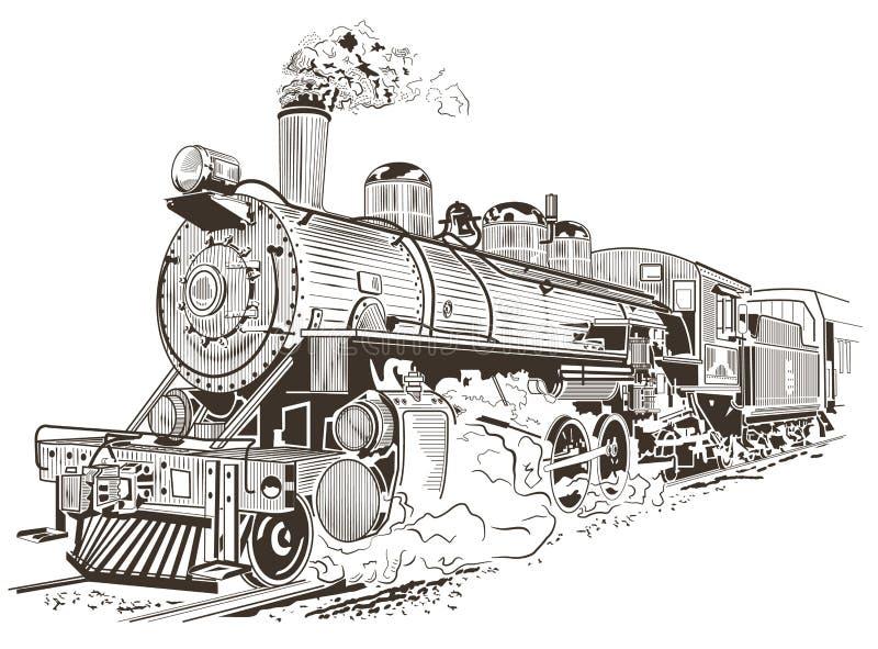 Locomotora, tren viejo stock de ilustración