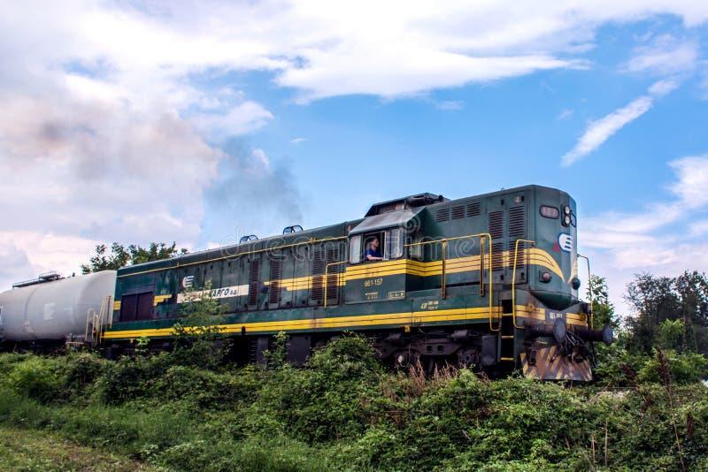 Locomotora verde diesel del tren en ferrocarril en naturaleza fotos de archivo