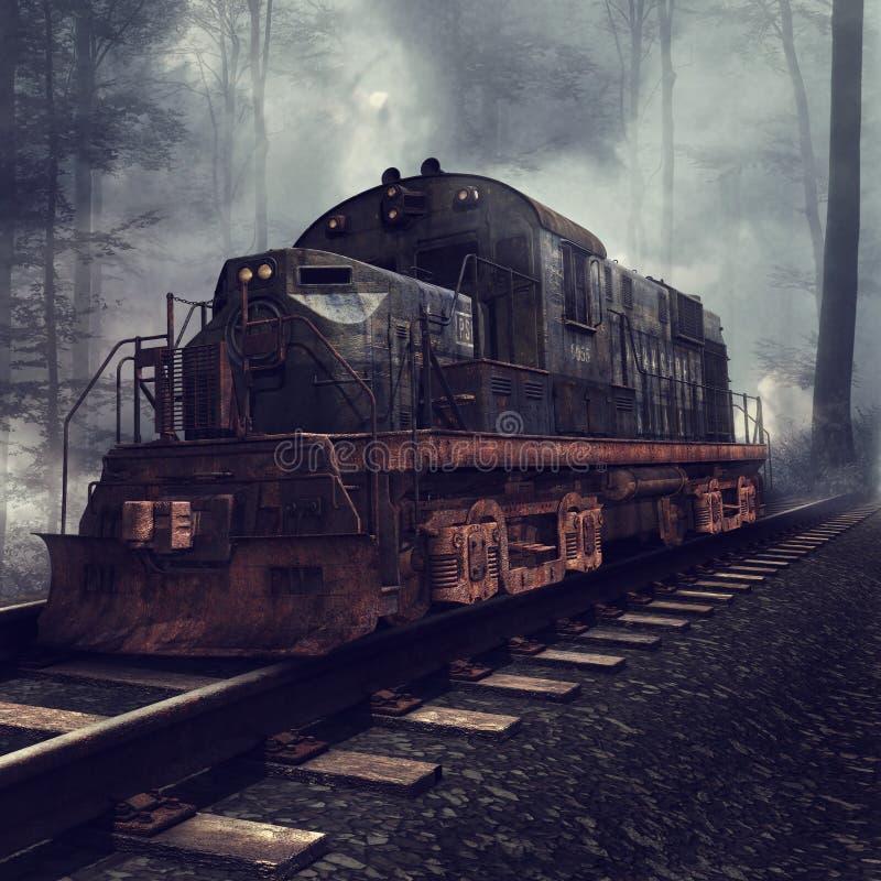 Locomotora vieja en las pistas ilustración del vector