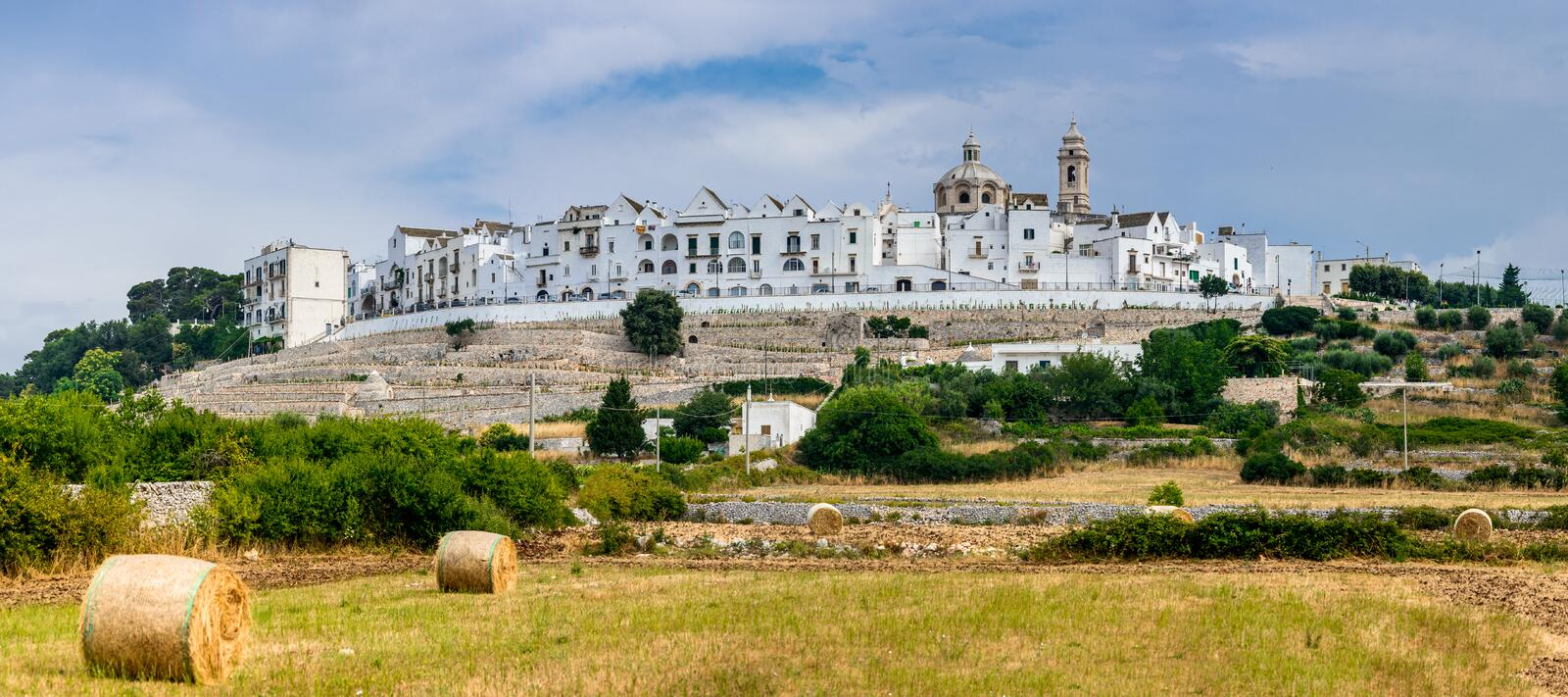 Locorotondo, Puglia, Italy. Panoramic view of Locorotondo. Puglia, Italy. Town known for its wines and for its circular structure which is now a historical stock images