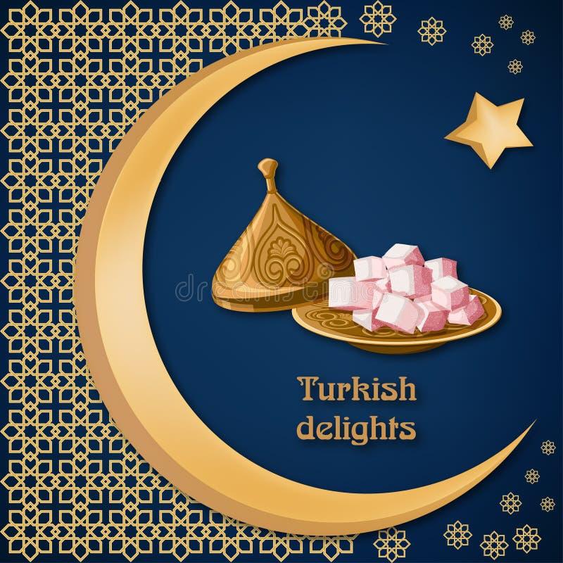 Locum do loukoum na placa de cobre decorada com texto, o ornamento árabe, a lua e a estrela na obscuridade - fundo azul ilustração royalty free