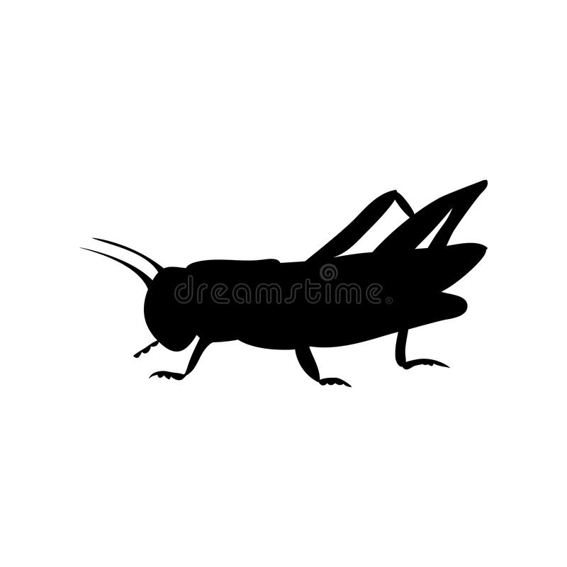 Locust grasshopper insect black silhouette animal royalty free illustration