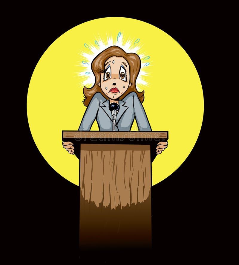 Locutor público/político asustados ilustración del vector