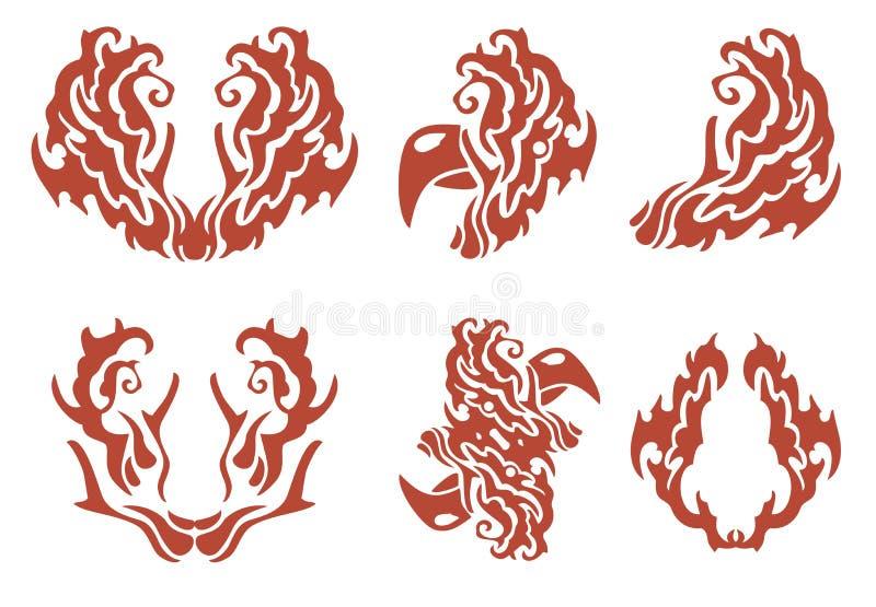 Lodernde dekorative Symbole: Hahn und andere lizenzfreie abbildung