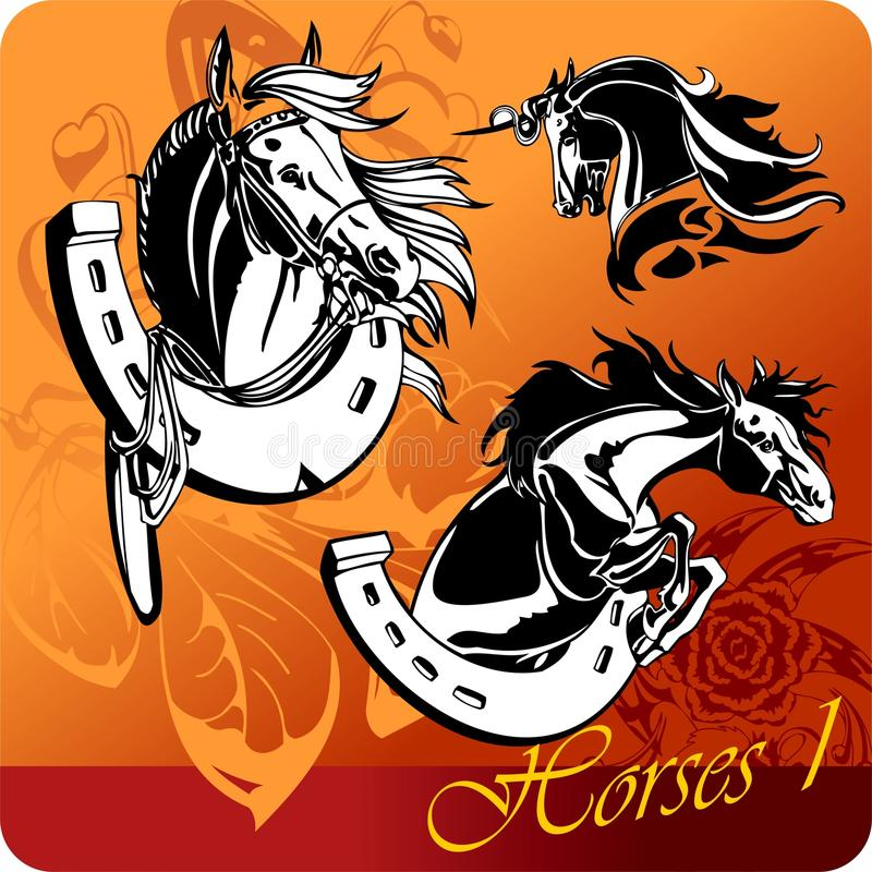 Lodernde Pferde. lizenzfreie abbildung