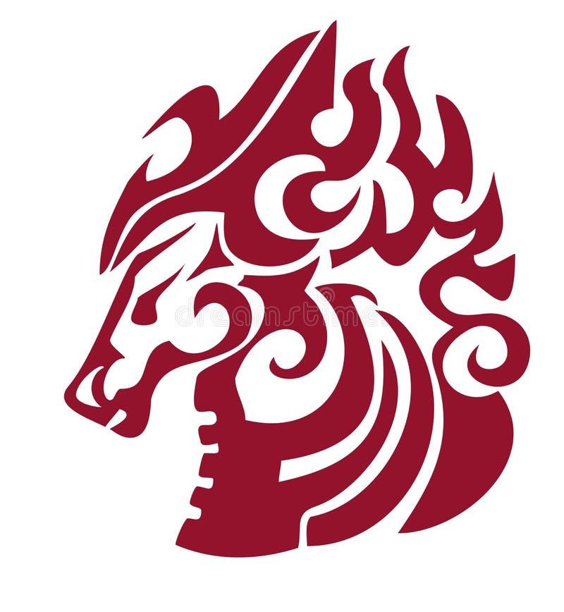 Lodernder Pferdekopf in der Stammes- Art Rot auf dem Weiß stock abbildung
