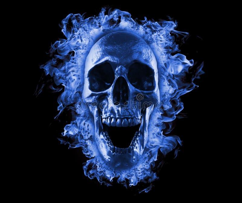 Lodernder Schädel im blauen Feuer vektor abbildung