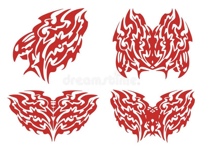 Loderndes Hahnsymbol und -schmetterlinge lizenzfreie abbildung