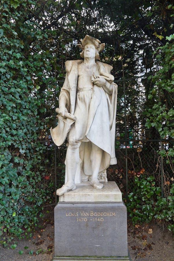 lodewijk van Bodeghem (大约XIX c.),布鲁塞尔, Belgiu雕象  库存图片