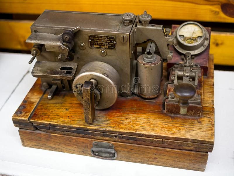 Apparatus for transmitting signals by Morse code. Lodeynoe Pole, Russia - March 29, 2019: Apparatus for transmitting signals by Morse code royalty free stock images