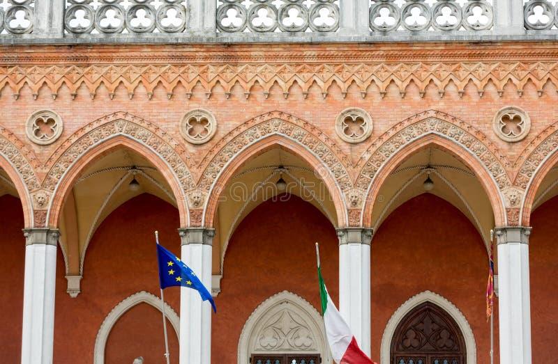 Lodge Amulea in the Great piazza of Prato della Valle also known as Ca` Duodo Palazzo Zacco in Padua. Italy stock photo