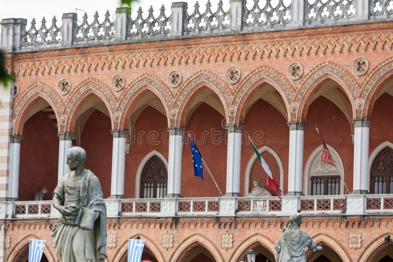 Lodge Amulea in the Great piazza of Prato della Valle also known as Ca` Duodo Palazzo Zacco in Padua. Italy stock photography