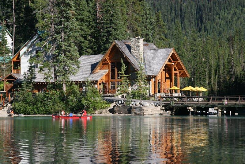 Lodge on a lake stock photos