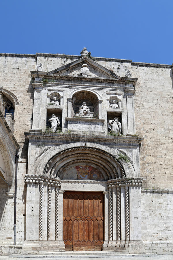 The Lodge of Merchants is a work of sixteenth-century. ASCOLI PICENO, ITALY - JUNE 02, 2014: The Lodge of Merchants is a work of sixteenth-century that was stock photos