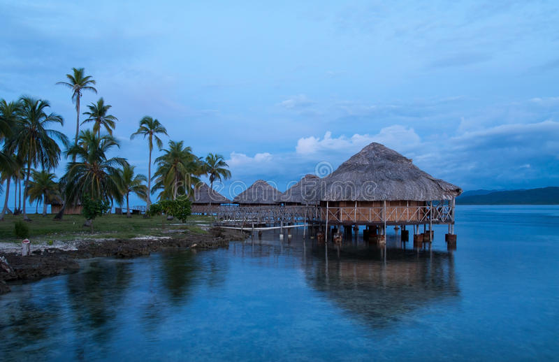 Lodges on the water, San Blas Islands royalty free stock photos