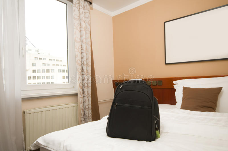Lodging bedroom view of capital city Ljubljana Slovenia Europe w. Ith backpack stock photography