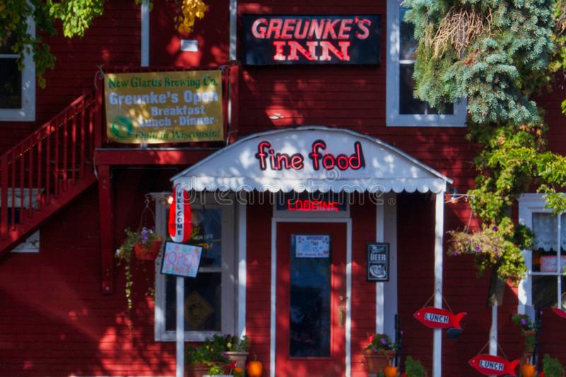 Greunke`s Inn at Bayfield, Wisconsin. Lodging and Restaurant on Lake Superior. Bayfield, Wisconsin, on the Lake Superior shore, is famous for scenic views stock image