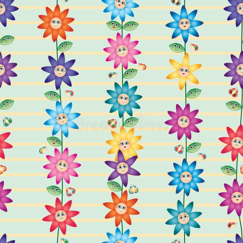Lodlinje för leende för blomma för tecknad filmbladfjäril stock illustrationer