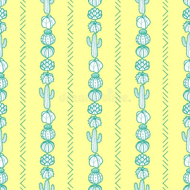 Lodlinje gjord randig stil av kaktuns och suckulenter i grön översikt stock illustrationer