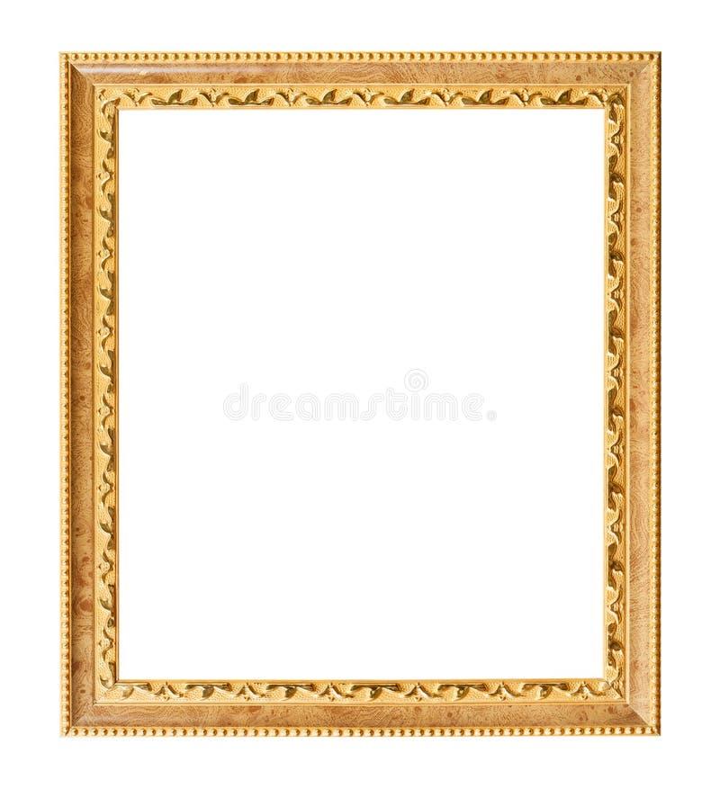 Lodlinje sniden guld- träbildram royaltyfri foto