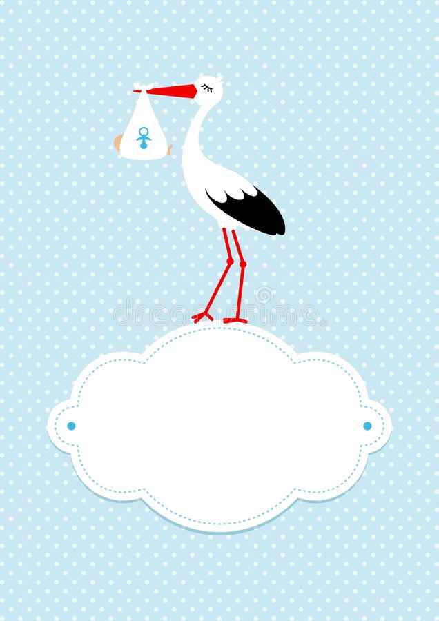 Lodlinjen behandla som ett barn kortpojkestorken på molnet Dots Background Blue stock illustrationer