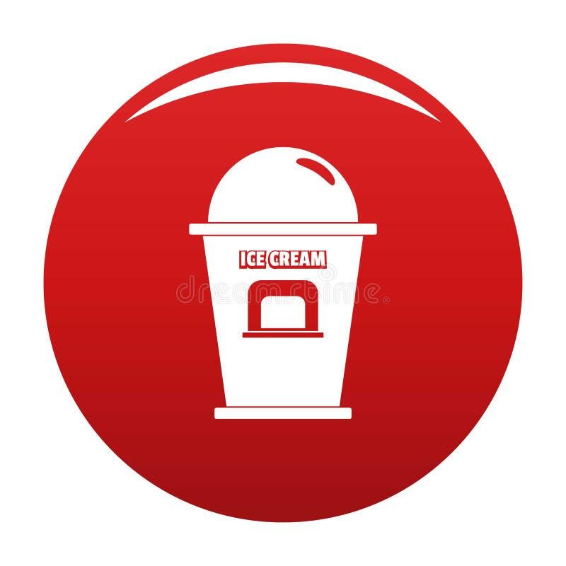 Lodowa creme handlowego punktu ikony wektoru czerwień royalty ilustracja