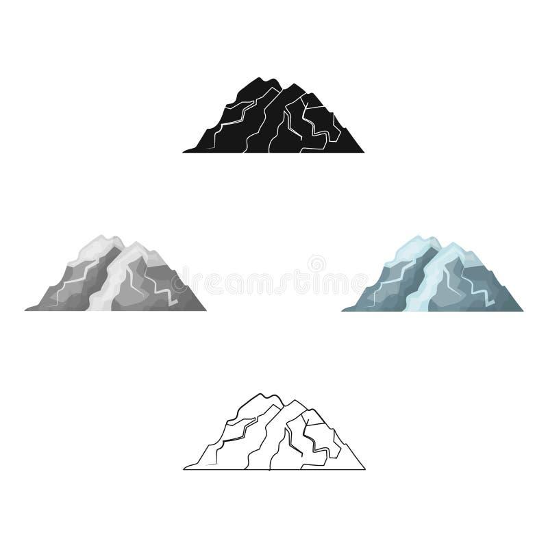 Lodowa g?ra wszystkie p?kni?cia G?ra od kt?rego g?ry lodowa Różne góry przerzedżą ikonę w kreskówce, czerń styl ilustracja wektor