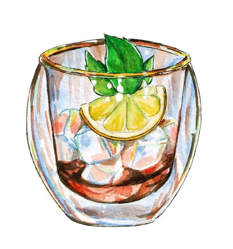 Lodowa herbata z mennicy gałąź i cytryną, akwareli ilustracja royalty ilustracja