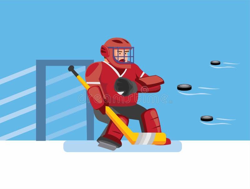 Lodowa hokejowa goalie starają się złapać wiele puck, bohatera hokeja w hokeja na lodzie gra sportowa z niebieskim tłem w cartoon ilustracji
