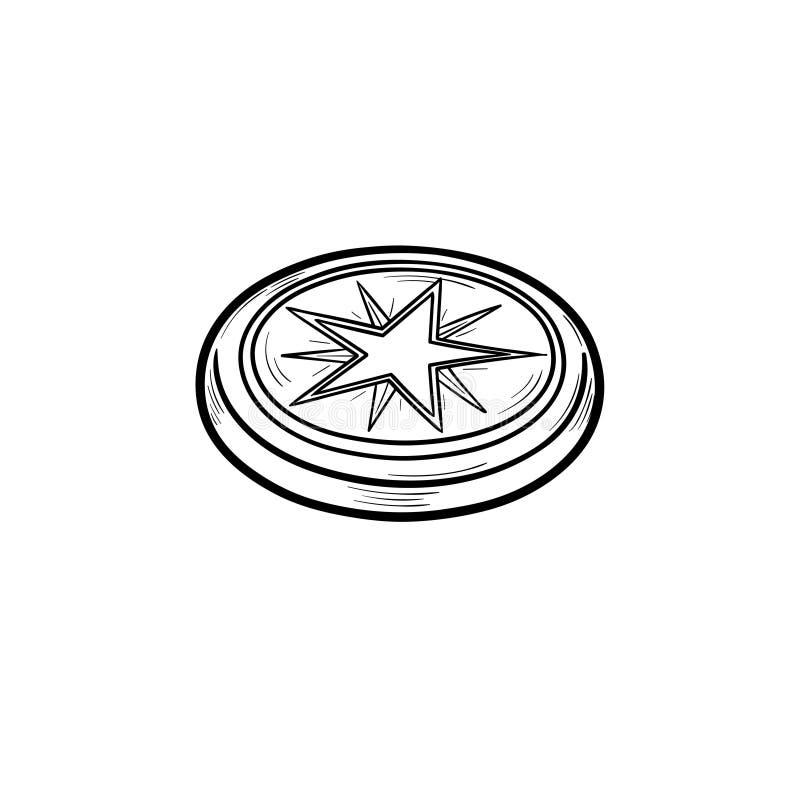 Lodowa hokejowego krążka hokojowego konturu doodle ręka rysująca ikona royalty ilustracja