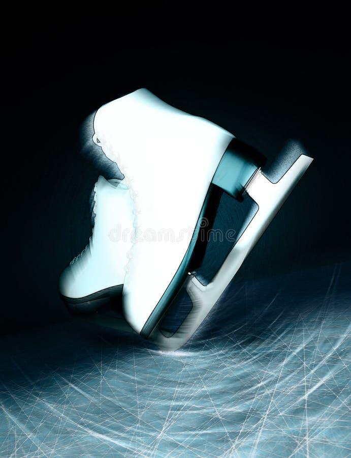 lodowa para jeździć na łyżwach biel tła ścinku postać odosobniona ścieżka jeździć na łyżwach biel Kobiety ` s lodowe łyżwy tex fotografia royalty free