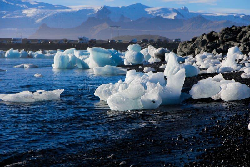 Lodowa plaża w Iceland fotografia stock