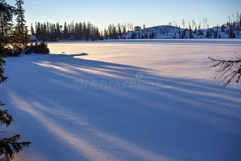 Lodowa powierzchnia Strbske Pleso jezioro fotografia stock