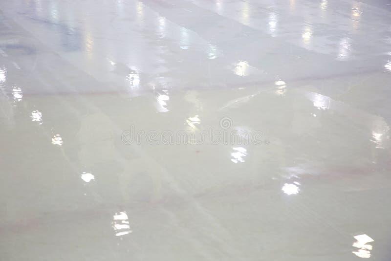 Lodowa powierzchnia w hokej sala po wypełniać obrazy royalty free