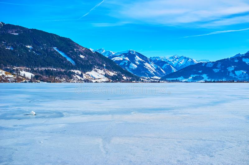Lodowata powierzchnia Zeller widzii, Zell jest Widzii, Austria obraz royalty free