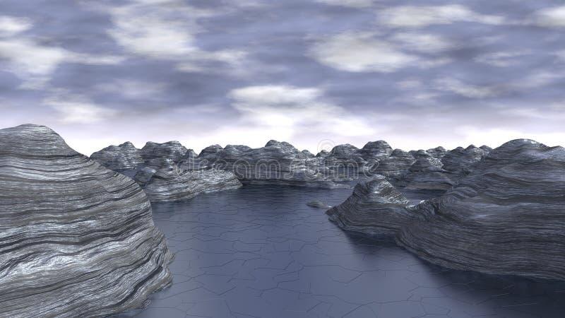 Lodowaty komputer Wytwarzający krajobraz zdjęcia stock