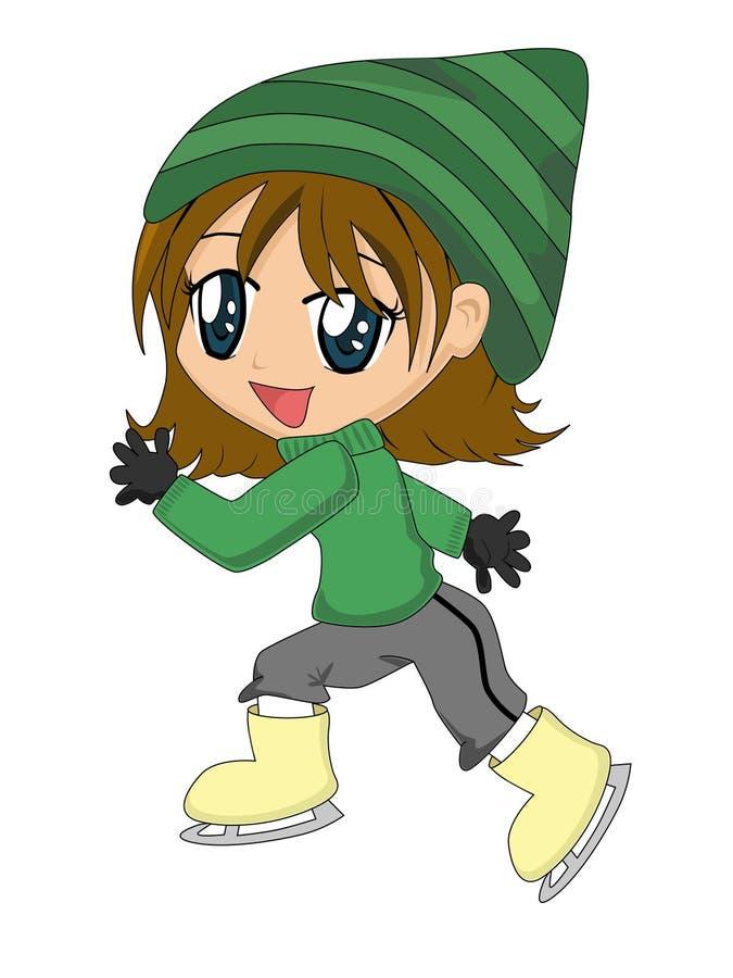 lodowe łyżwy kreskówek dziewczyny ilustracja wektor
