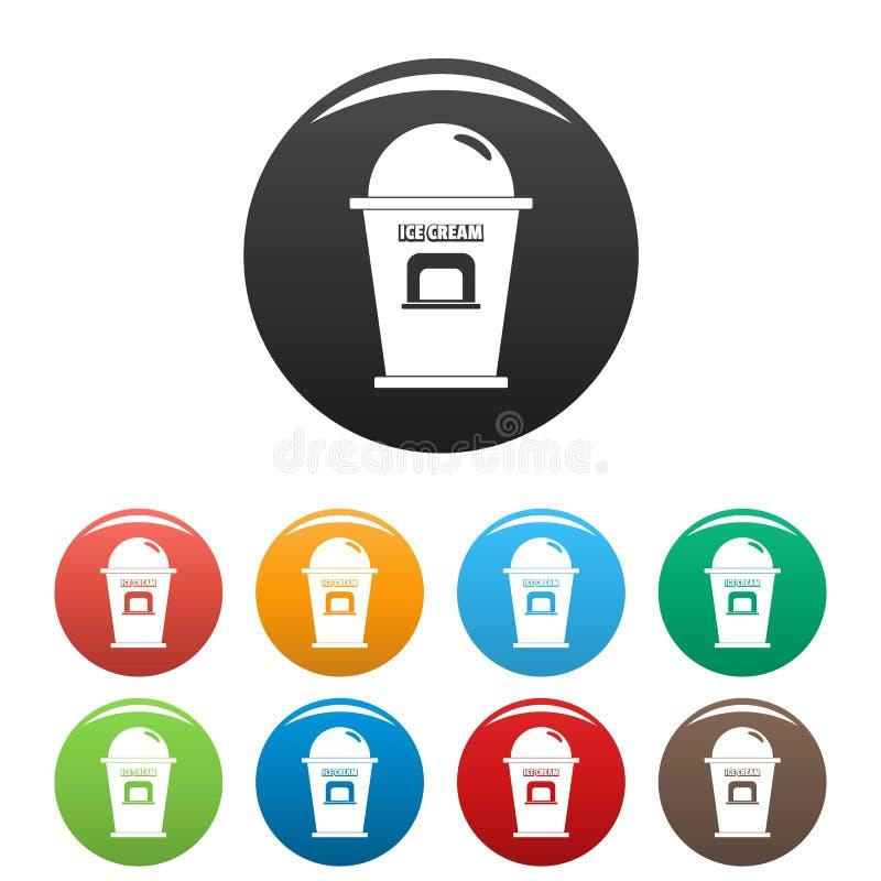 Lodowe creme handlowego punktu ikony ustawiać barwią wektor ilustracji