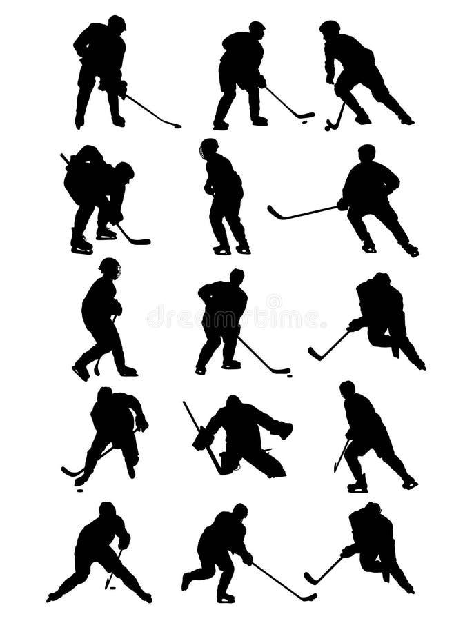 Lodowe gracz w hokeja sylwetki Ustawiać royalty ilustracja