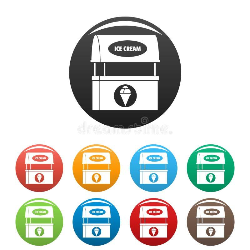 Lodowe ikony ustawiający creme sprzedawania kolor ilustracji