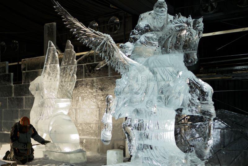 Lodowe rzeźby w St Petersburg, Rosja obraz stock